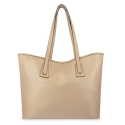 Leather Shopping Bag in Champagne Color - Barada