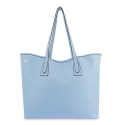 Leather Shopping Bag in Cyan Color - Barada