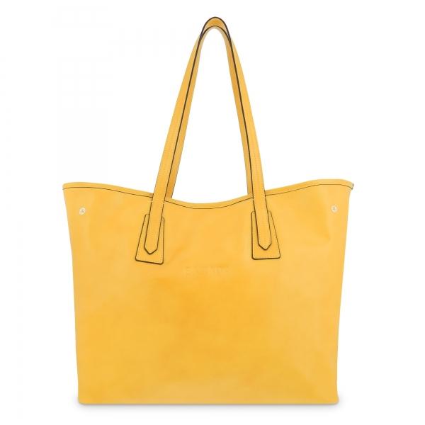 Bolso Shopping de Piel en Color Amarillo Barada