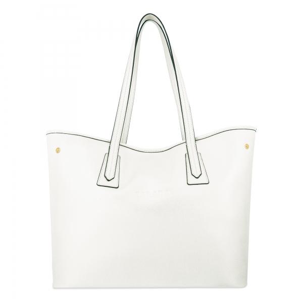Bolso Shopping de Piel en Color Blanco Barada