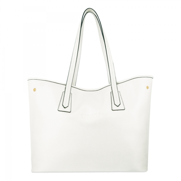 Leather Shopping Bag in White Color - Barada