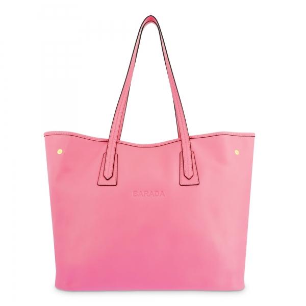 Bolso Shopping de Piel en Color Rosa Barada