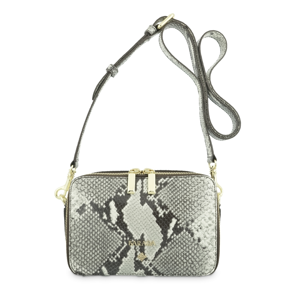 Cross Body Bag in Cow Leather (Snake Print) and Natural color