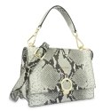 Top Handle HandBag in Cow Leather (Snake Print) and Natural color