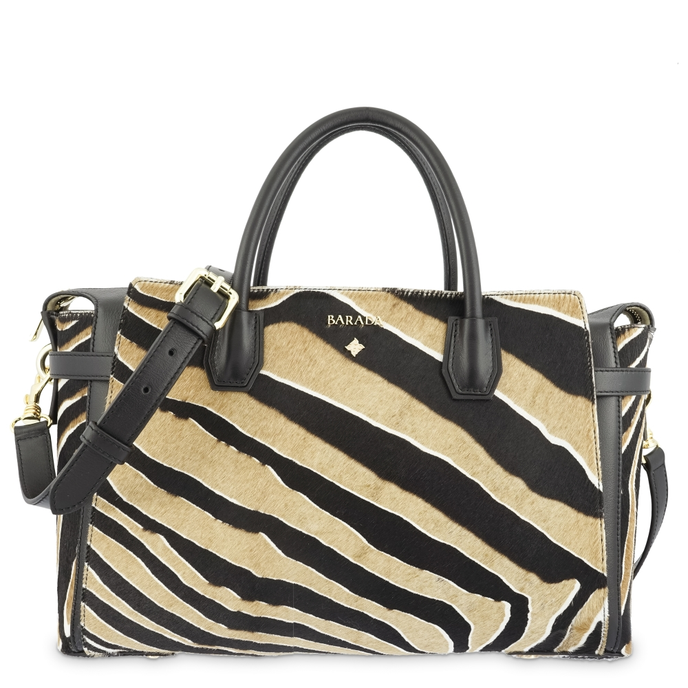 Top Handle HandBag in Cow Leather and Striped three tones color