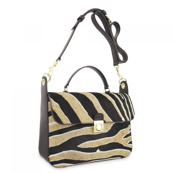 Cross Body Bag in Cow Leather and Striped three tones color