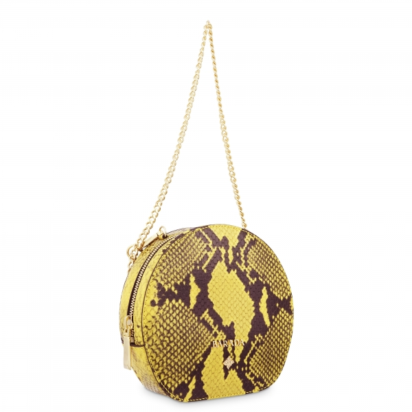 Mini Bag in Cow Leather (Snake Print) and Yellow color