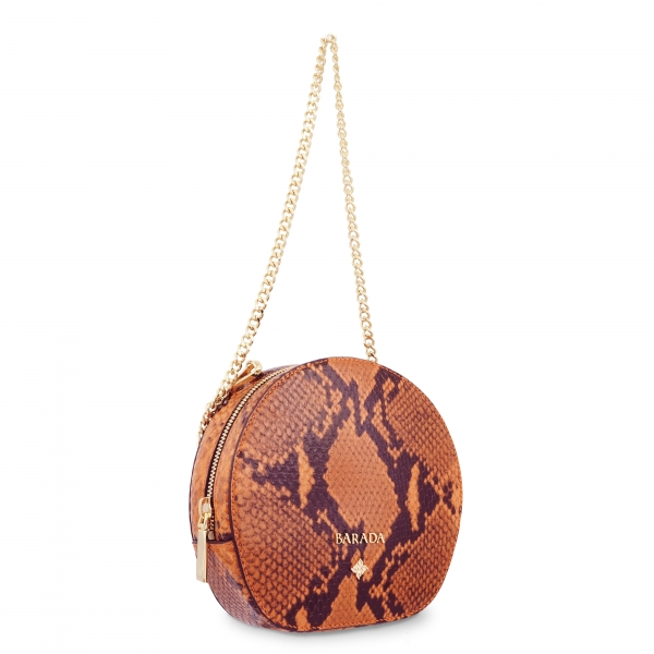 Mini Bag in Cow Leather (Snake Print) and Orange color