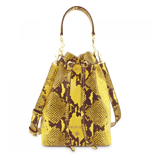 Wristlet Bag in Cow Leather (Snake Print) and Yellow color