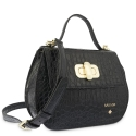 Top Handle HandBag in Cow Leather (Crocodile Print) and Black color