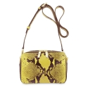 Cross Body Bag in Cow Leather (Snake Print) and Yellow color