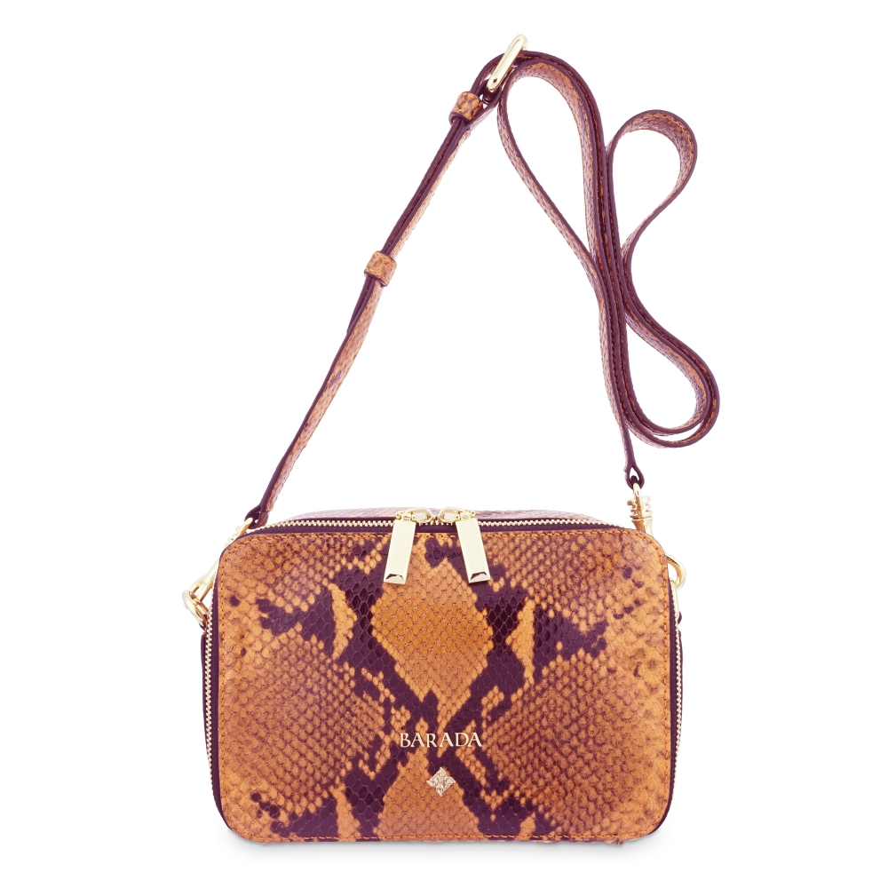 Cross Body Bag in Cow Leather (Snake Print) and Orange color