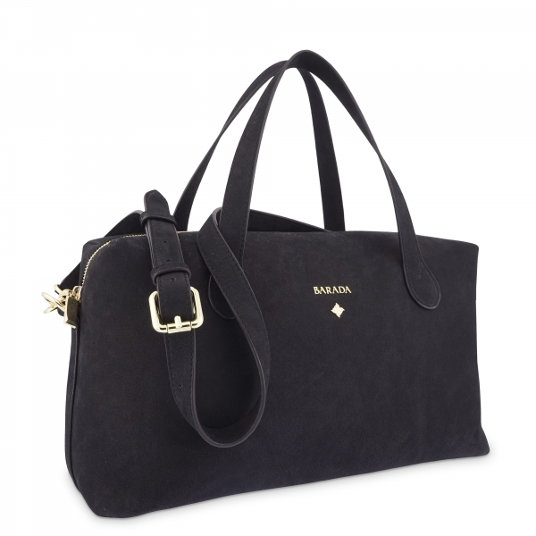 Top Handle HandBag in Buffalo Leather and Black color