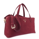 Top Handle HandBag in Buffalo Leather and Bordeaux color