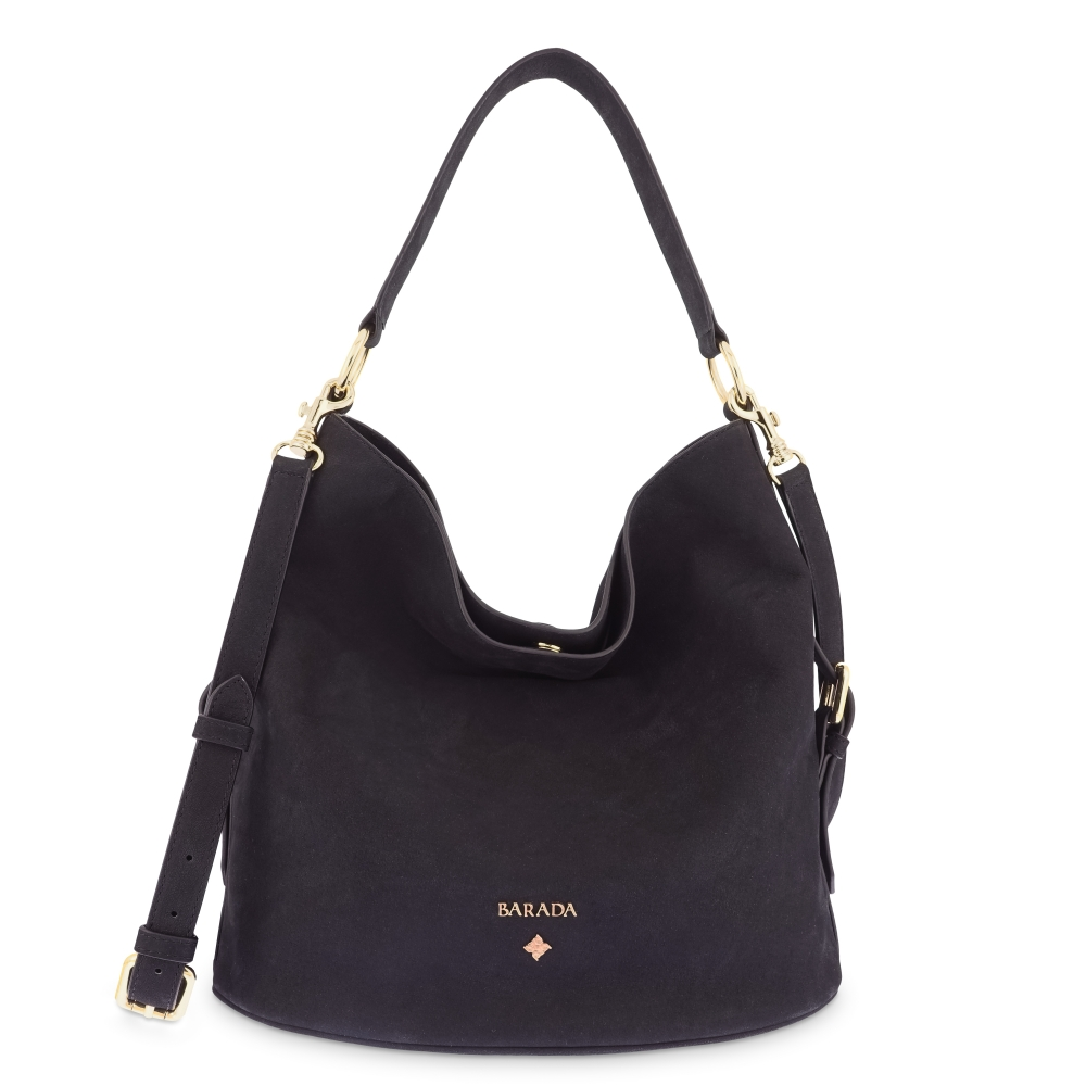 Bolso Hobo in Buffalo Leather and Black color