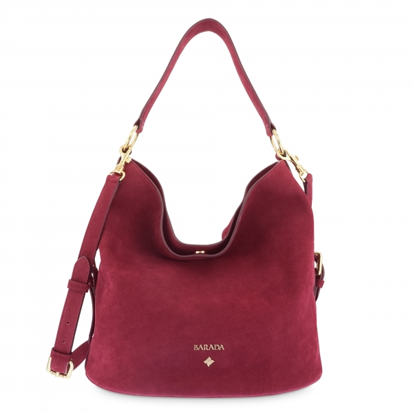 Bolsos Hobo in Buffalo Leather and Bordeaux color