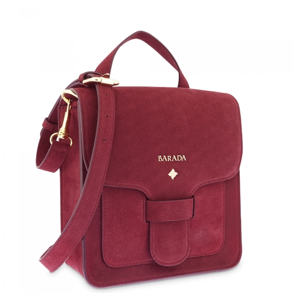 Cross Body Bag in Buffalo Leather and Bordeaux color