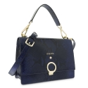 Top Handle HandBag in Cow Leather (Snake Print) and Blue color