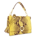 Top Handle HandBag in Cow Leather (Snake Print) and Yellow color