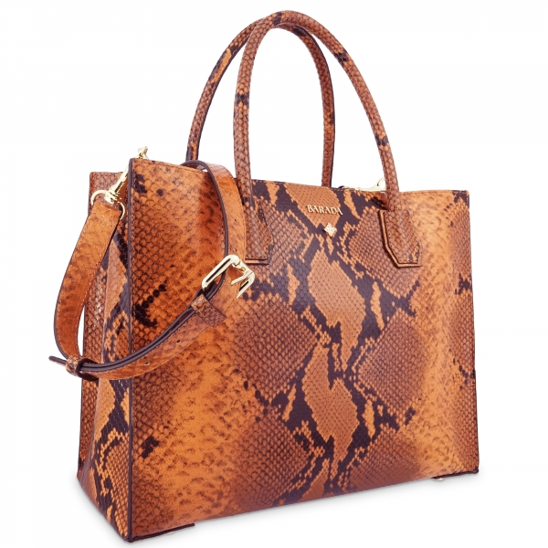 Top Handle HandBag in Cow Leather (Snake Print) and Orange color