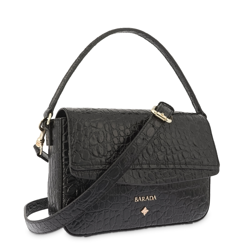 Shoulder Bag in Cow Leather (Crocodile Print) and Black color