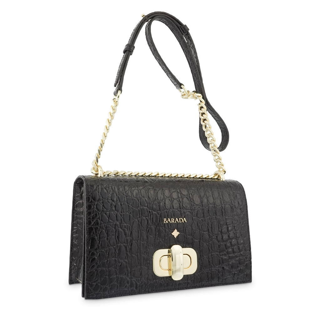 Cross Body Bag in Cow Leather (Crocodile Print) and Black color