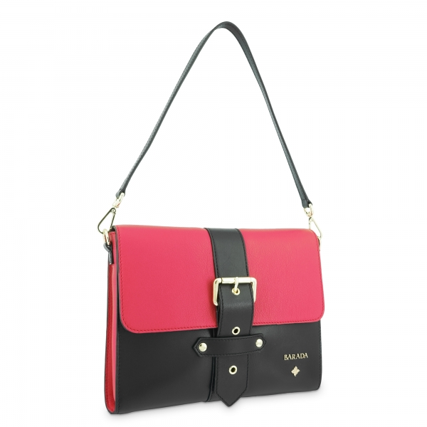 Shoulder Bag in Cow Leather and Red/Black color