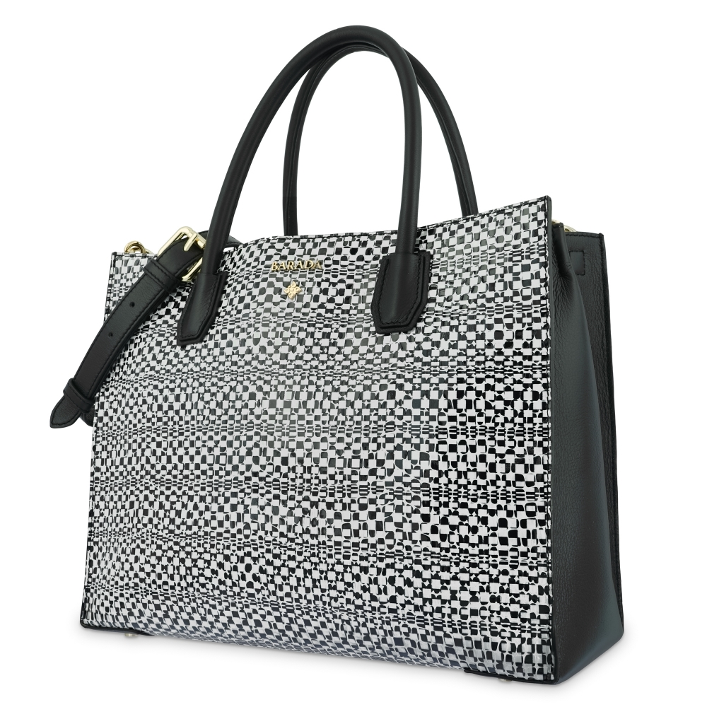 Top Handle Handbag in Cow Leather and White/Black color