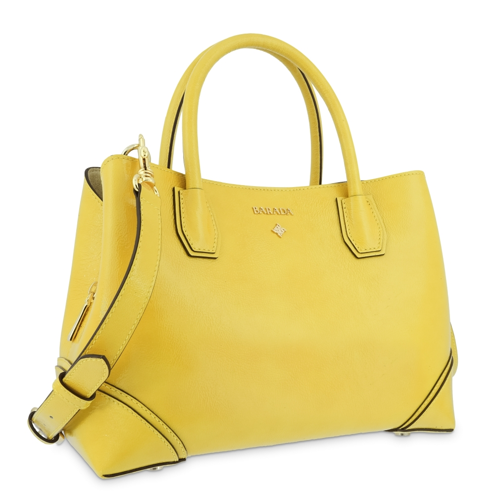 Top Handle Handbag in Cow Leather and Yellow color