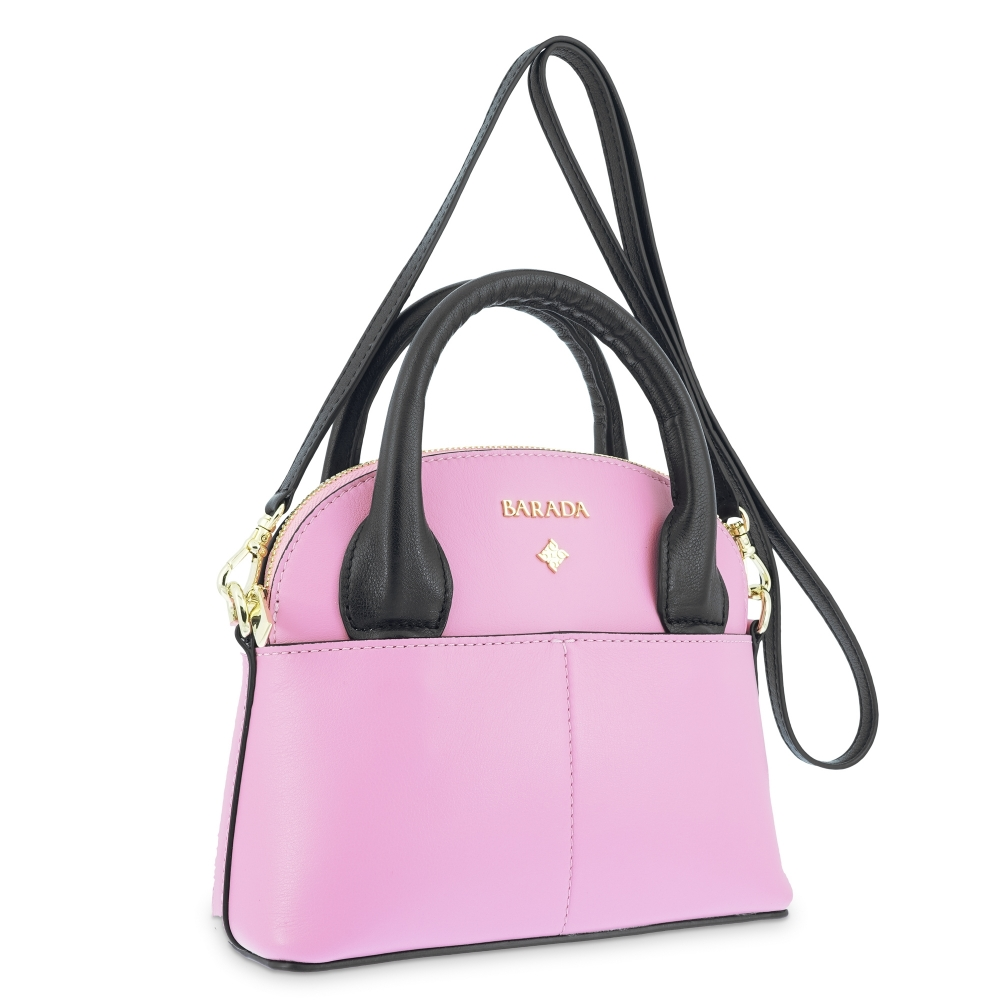 Mini Bag in Cow Leather and Rosa/Black color