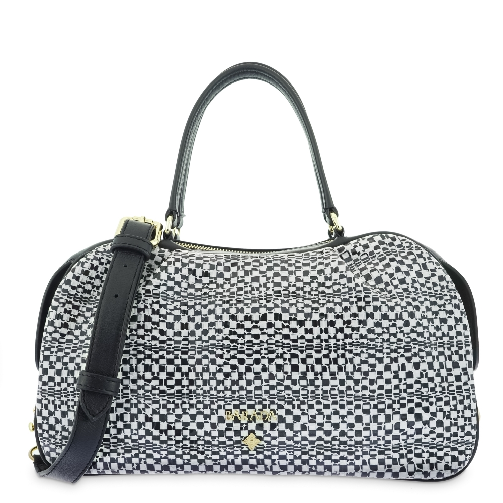 Top Handle Handbags in Cow Leather and White/Black color