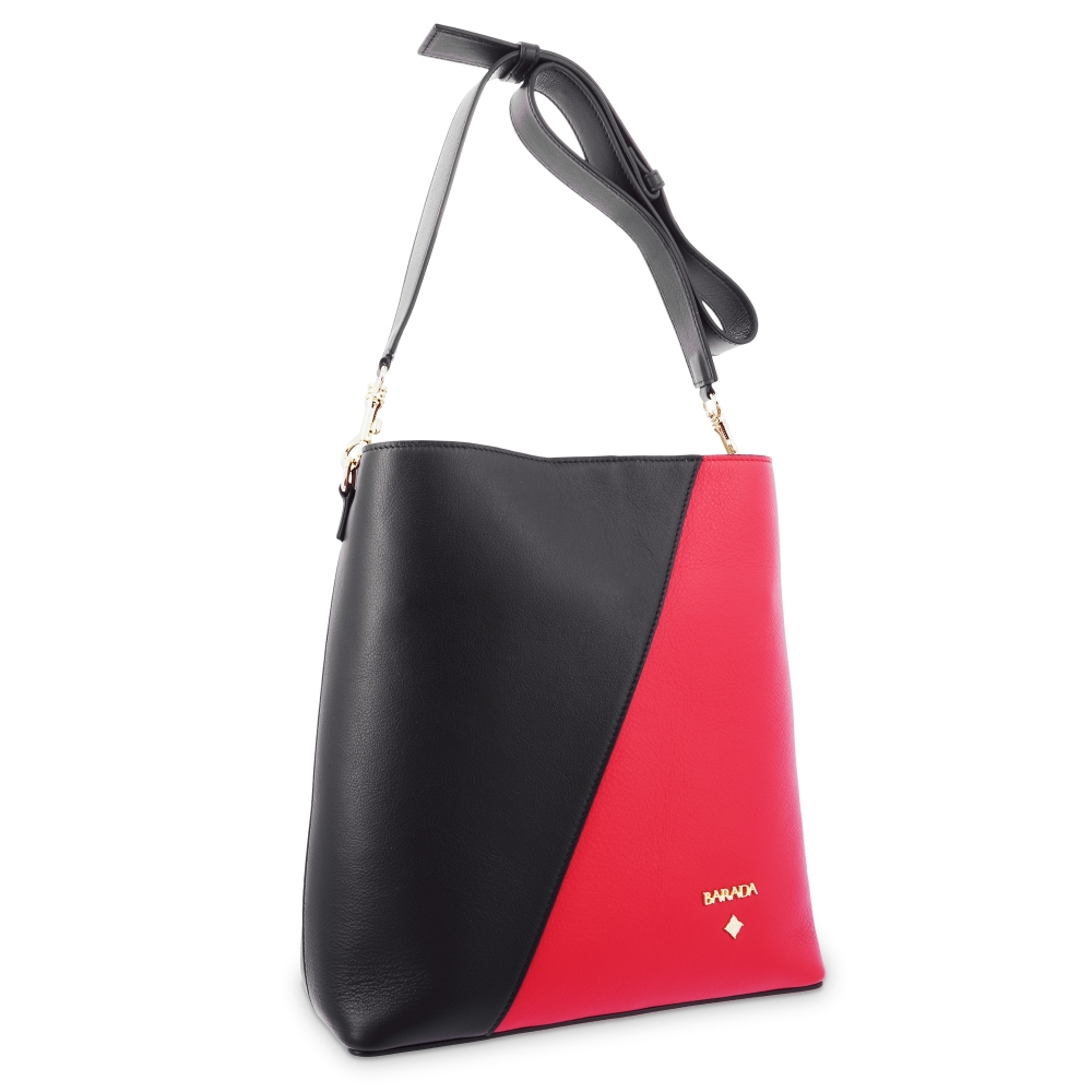 Shoulder Bag in Cow Leather and Black/Red color
