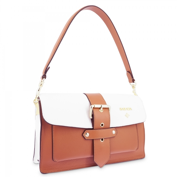 Shoulder Bag in Cow Leather and White/Tan Leather color