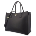 Top Handle Handbag in Cow Leather and Black color