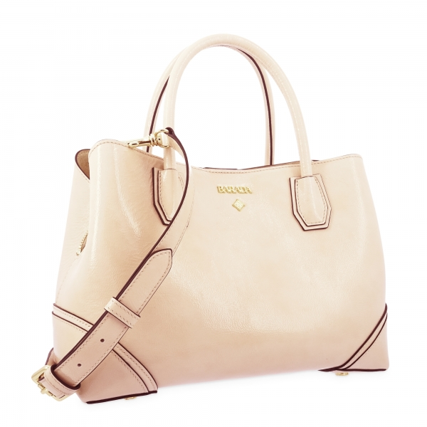 Top Handle Handbag in Cow Leather and Beige color