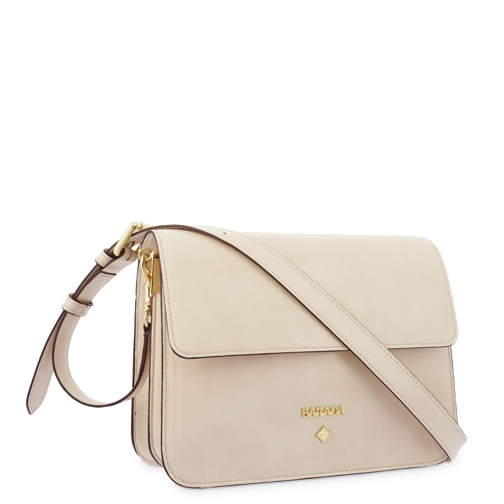 Shoulder Bag in Cow Leather and Beige color