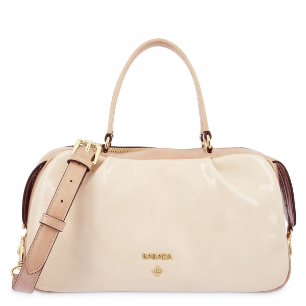 Top Handle Handbag in Cow Leather and Nude color