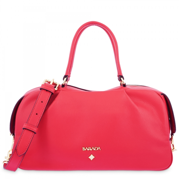 Top Handle Handbag in Cow Leather and Red color