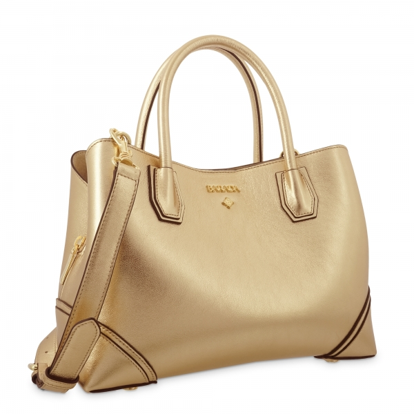 Top Handle Handbag in Cow Leather and Gold color
