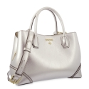 Top Handle Handbag in Cow Leather and Silver color