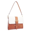 Shoulder Bag in Cow Leather and Tan Leather/White color