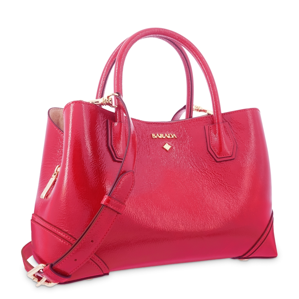 Top Handle Handbag in Cow Leather and Rojo color