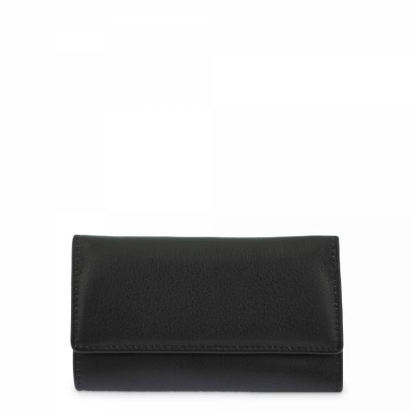 Leather Keyring Wallet for men in Black color