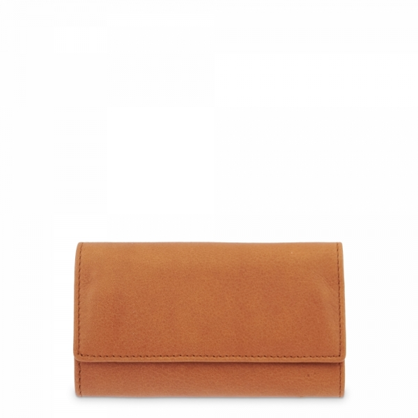 Leather Keyring Wallet for men in Tan Leather color