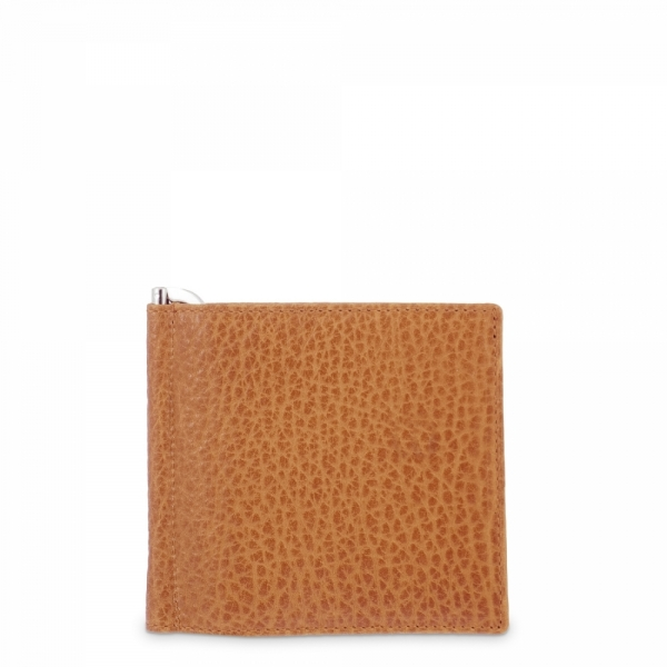 Leather Clip Wallet for men in Tan Leather color