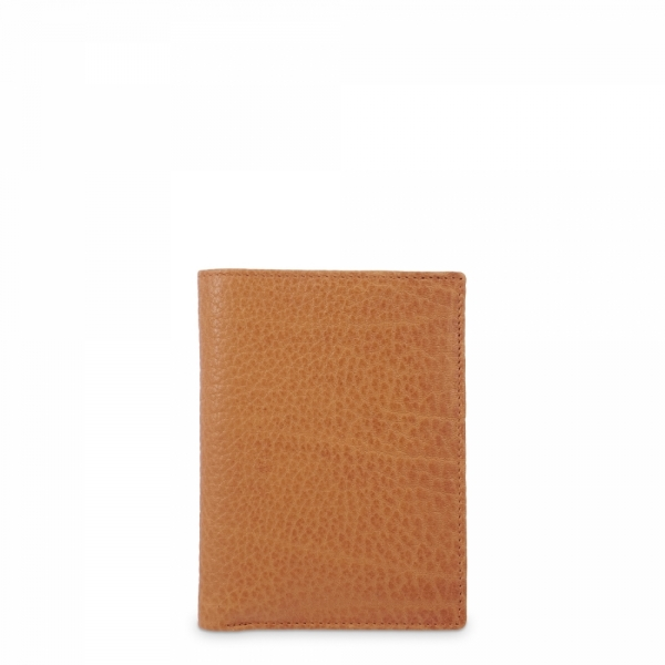 Leather Wallet Card Holder for men in Tan Leather color