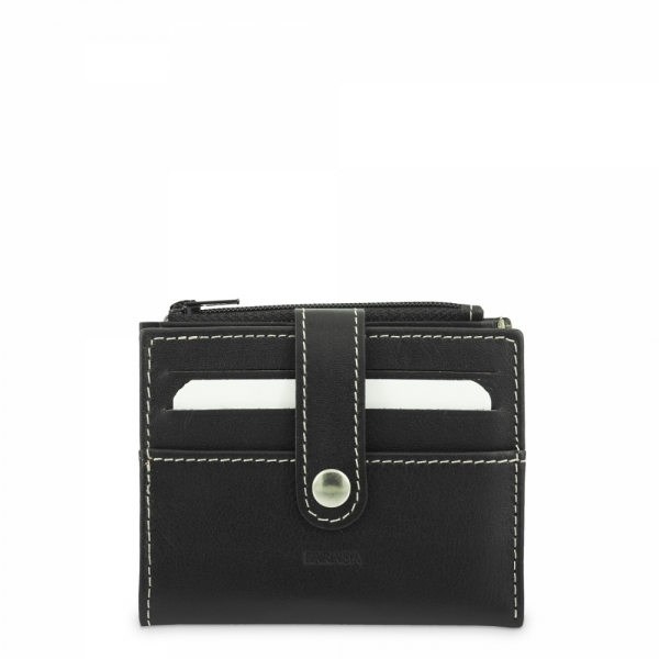 Leather Wallet with Coin Pouch unisex in Black color
