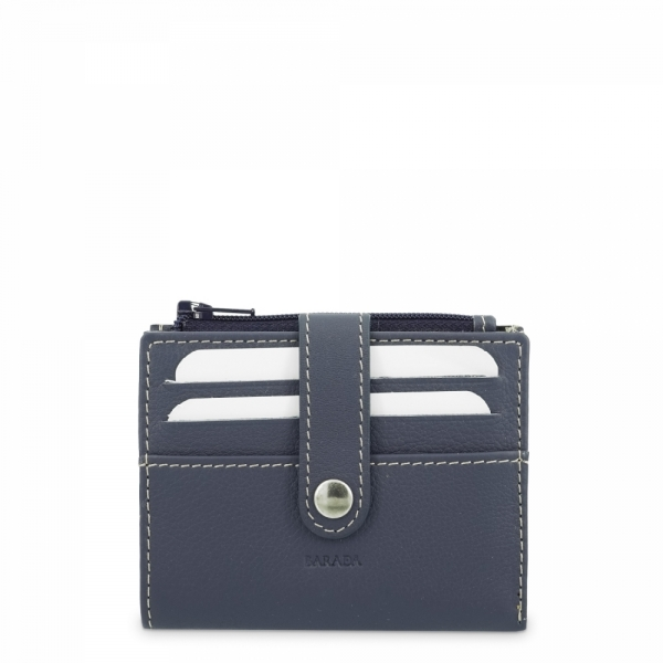 Leather Wallet with Coin Pouch unisex in Blue color