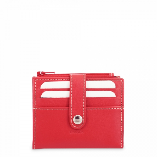 Leather Wallet with Coin Pouch unisex in Red color