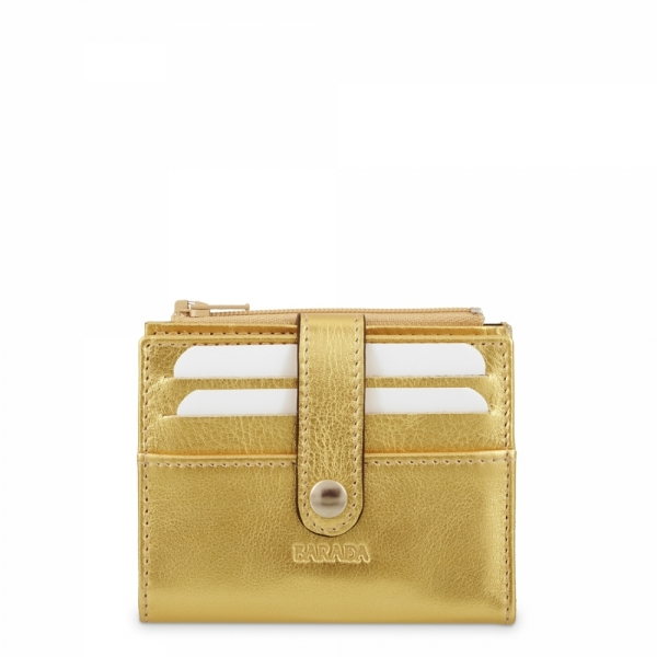 Leather Wallet with Coin Pouch unisex in Gold color